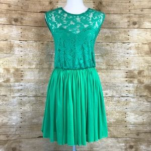 ASOS Lace sweetheart top dress green 4