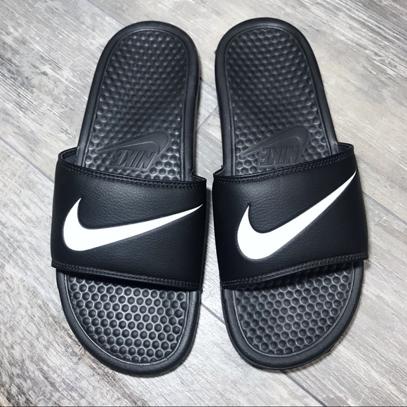 ec7c082ecf85ff hot nike swoosh black open toe slip on sandals 7b84e e2944