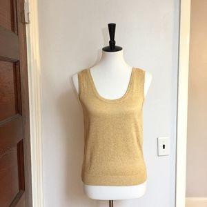 [St. John] Santana knit gold shimmery tank top
