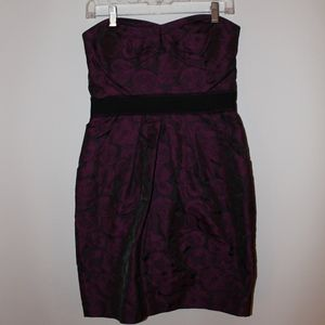 Purple and Black Strapless Homecoming Dress