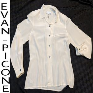 Evan Picone cream silk dress blouse