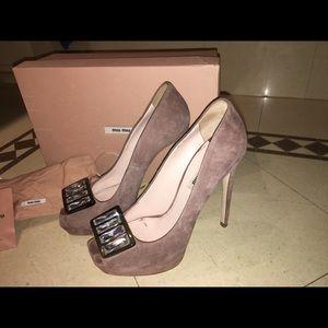 MIU MIU Peep Toe Embellished Heels worn twice