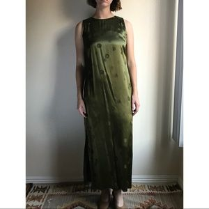 [vintage] satin green high neck maxi dress