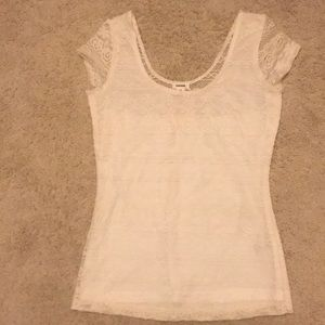 A white lace t-shirt