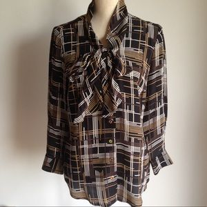 """Trina Turk """"Dame"""" silk plaid blouse"""