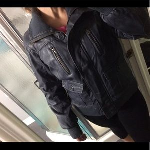 Faux  navy blue leather jacket