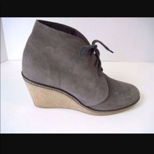J. Crew McAlister Suede Wedge Boots in Slate Grey
