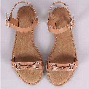 Bamboo Horsebit Ankle Strap Flat Sandal