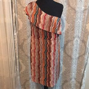 Dresses & Skirts - One Shoulder Multi-Color Dress