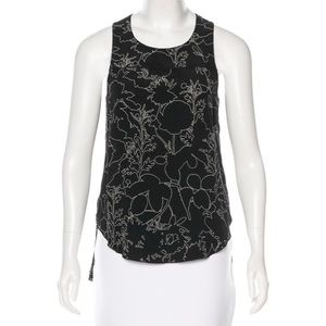 Rag & Bone Floral Print Silk Sleeveless Tank Top