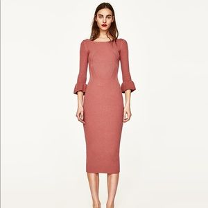 Zara trf knitwear dress with trumpet sleeve
