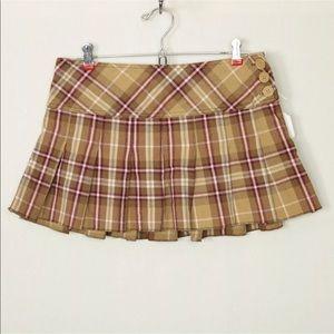 Aeropostale Skirt Mini Size 3/4 Tan Maroon Plaid