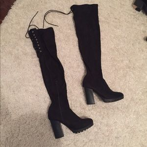Shoes - Barley worn thigh high boots with tie back