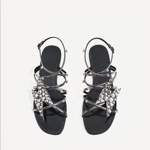 Zara Lightning Wrap Sandal 39 8