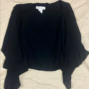 Cropped Black Draping Cardigan
