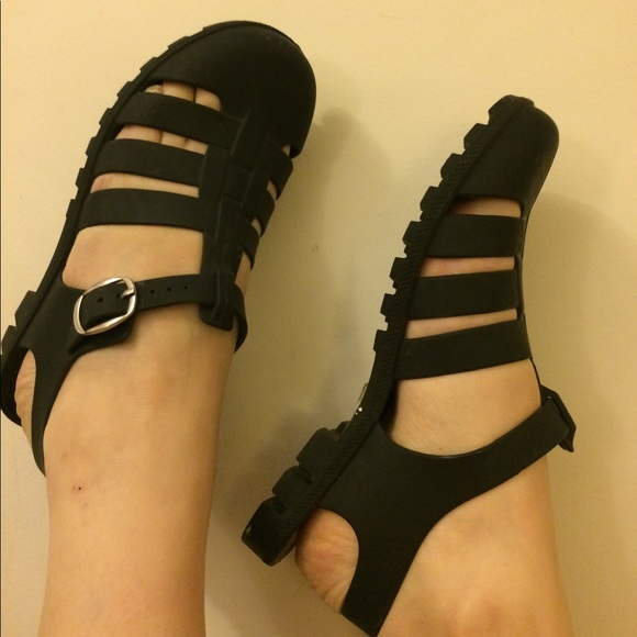 2bbf093fa9a ASOS Shoes | Matte Black 90s Style Jelly Sandals | Poshmark
