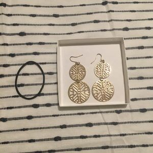 Gold colored geo design earrings