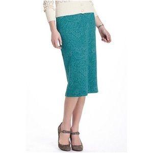 Anthropologie Bordeaux Green Burnout Pencil Skirt