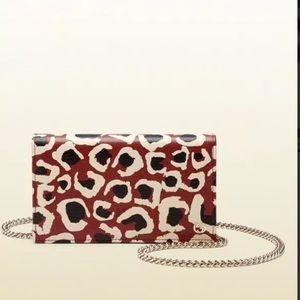 Gucci leopard red & black chain wallet cross-body