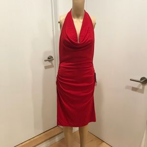 Nicole Miller, Sexy red backless halter dress