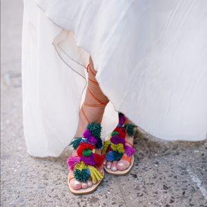 Zara Pom Pom Wrap Sandals