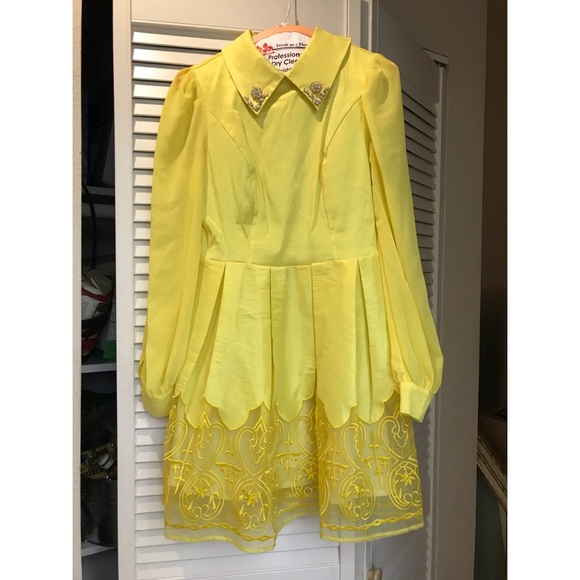 Vintage Dresses & Skirts - Vintage Yellow Cocktail Dress 1960s Style