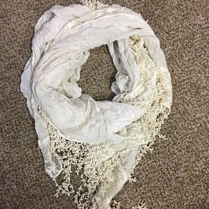 Ivory crochet boho fringe lace scarf