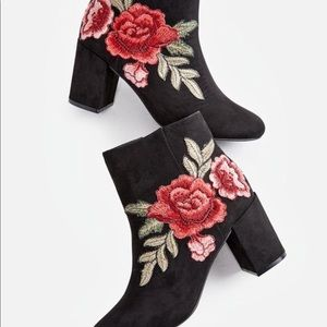 JustFab Shoes - JustFab black embroidered rose Jacinta booties 7.5