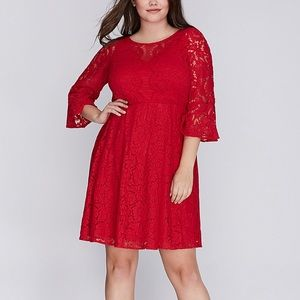 Lane Bryant Red Lace Bell Sleeve Dress NWT