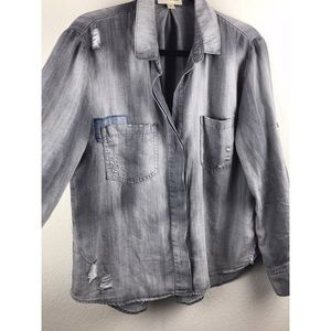 ff84b4a63fa Anthropologie Tops | Anthro Cloth Stone Distressed Denim Shirt Med ...