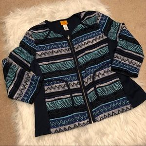 Ruby Rd. Aztec print Zippered sweatshirt
