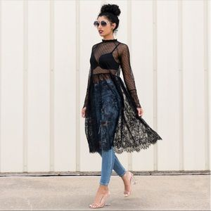 Lace mesh tunic too