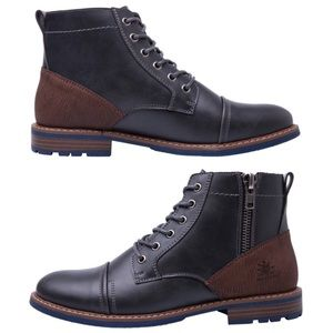 Mens Chukka Fashion Boots with Side Zip Up Lace-Up