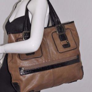 GAP 2 Tone Brown Leather Large Tote Bag