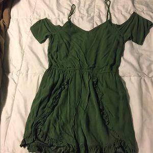 Green romper dress.