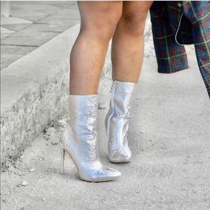 Shoes - Metallic Silver Faux Leather Boots