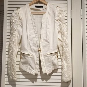Vintage white lace blazer jacket