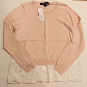 French Connection Lace Insert Sweater Blush Pink