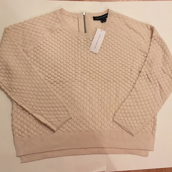 French Connection Sweaters - French Connection Wool-Blend Cream Sweater Large