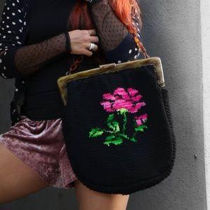 Vintage Black Floral Crochet Bag