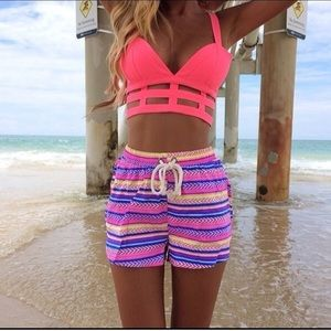 Sabo Skirt Neon Pink Caged Crop Top size Small