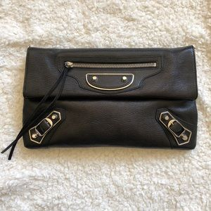 Balenciaga Metallic Edge Clutch Black