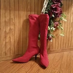 Red Suede Stretch Pull On Boots