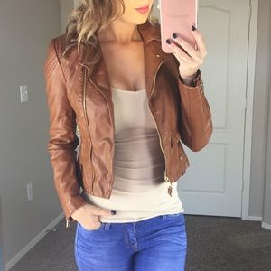 NWT Express Vegan Leather Tan Jacket Size XS