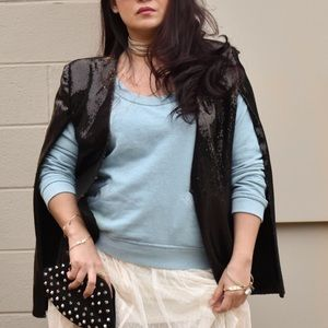 Jackets & Blazers - Black Sequin Cape Blazer