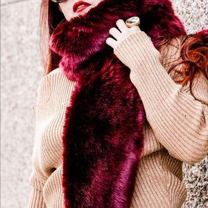 Burgundy Faux Fur Stole
