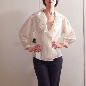 Vintage ruffle white semi sheer wrap blouse