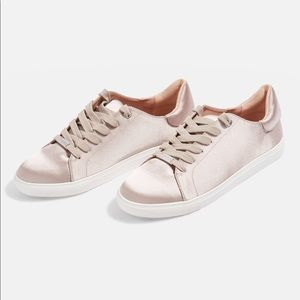 Topshop Metallic Taupe Satin Lace-up Sneakers