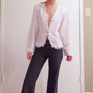 Vintage semi sheer satin cardigan