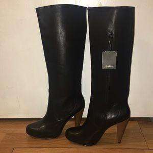 Zara leather knee high boot